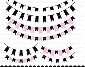 Pink and Black Banner clip art - ribbon clipart graphics, ribbon bunting scrapbook : c0248 3s3749