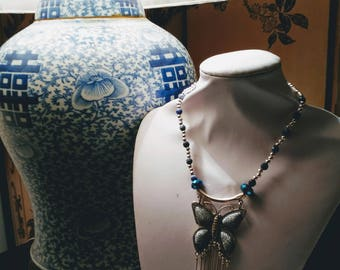 Choker with big white and blue butterfly