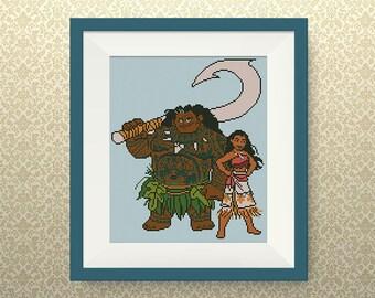 BUY 2, GET 1 FREE! Moana & Maui cross stitch pattern, Hawaiian Princess cross stitch pattern, Disney Princesses cross stitch pattern, #P303