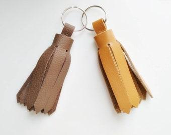 Leather keychain, leather tassel keychain