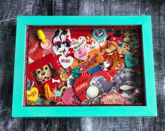 Ooak Handmade Framed Valentine Collage Vintage Valentine Cards Mixed Media Art Valentines Day Gift Puppy Love