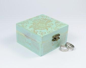 Mint Green Ring Box, Wedding Ring Chest, Custom Ring Box, Personalized Wedding ring box, Ring Bearer Pillow Alternative Boho Ring Bearer Box