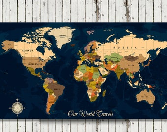 World Travel Map, Map Your Travels, Canvas Pushpin Map Wedding Gift, Our Travels Map, Personalized Travel Map, Personalized Push Pin Map