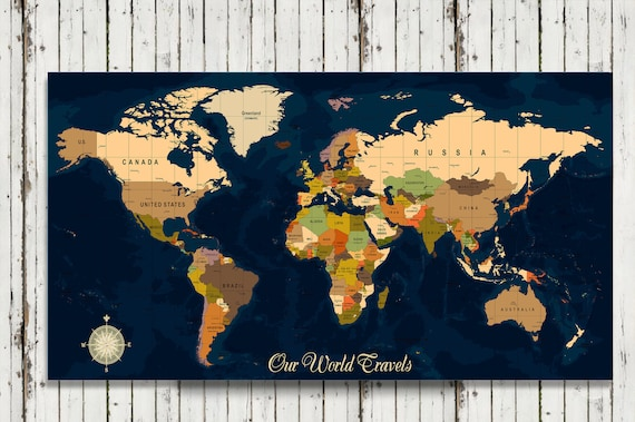 World travel map map your travels canvas pushpin map wedding gumiabroncs Gallery