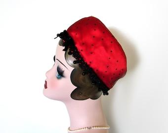 Sale!~ Vintage Red/Black Polka Dot Satin Soft Pillbox Hat~ Circa 1960's Jean Barthet
