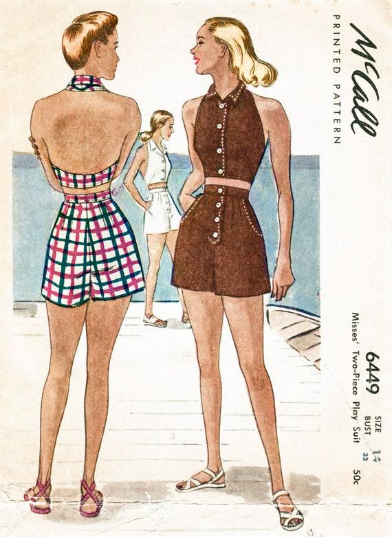 1940er Jahre 40er Jahre Jahrgang Strand Playsuit Nähen Muster