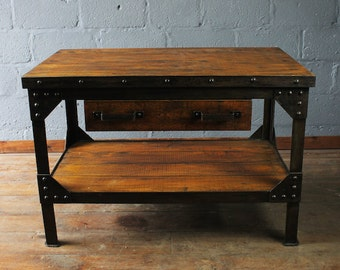 Superior Vintage Work Bench, Vintage Kitchen Island, Kitchen Bench, Up Cycled Work  Bench,