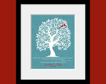 Personalized Parent's Gift, Roots and Wings Quote, Parent's Wedding Day Gift, Bride's and Groom's Parent Gift,  Family Tree Wall Art
