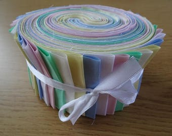 40 Jelly Roll Strips 100% Cotton Patchwork Fabric - Pastel Plain