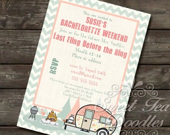 Glamping Bachelorette or Happy Camper invitation