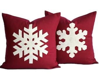 Two Handmade Snowflake Christmas Pillows, holiday pillow covers, decorative pillow, cushion, Christmas decoration