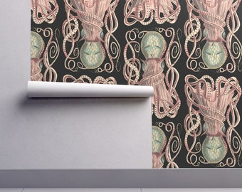 Cuttlefish Wallpaper - Sepiidae All Day Black By Peacoquettedesigns - Custom Printed Removable Self Adhesive Wallpaper Roll by Spoonflower