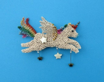 Unicorn brooch - pegasus, unicorn jewelry, fantasy creature, mythical animal, rainbow unicorn, rainbow jewelry, pegasus jewelry