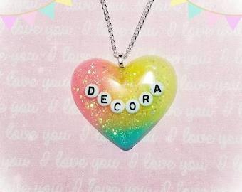Pastel Glitter Rainbow Decora Resin Bubble Heart Necklace