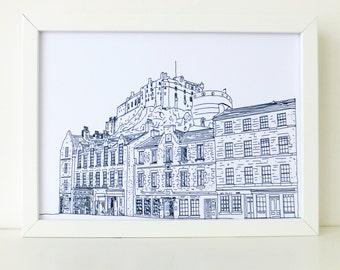 Edinburgh Castle Print, Minimalist art print, Monochrome Picture of Edinburgh, Scotland