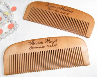 Engraved Wooden Beard Comb, Personalized Groomsmen Gifts, Best Man, Groom Thank You Gift, Wood Hair Comb, Wedding Party Gift, Wedding Favors