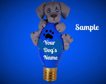 Weimaraner Dog BLUE eyes Christmas Holidays Light Bulb Ornament Sally's Bits of Clay PERSONALIZED FREE with dog's name