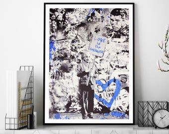 Love Is The Answer (Blue) by Mr Brainwash Street Art Print