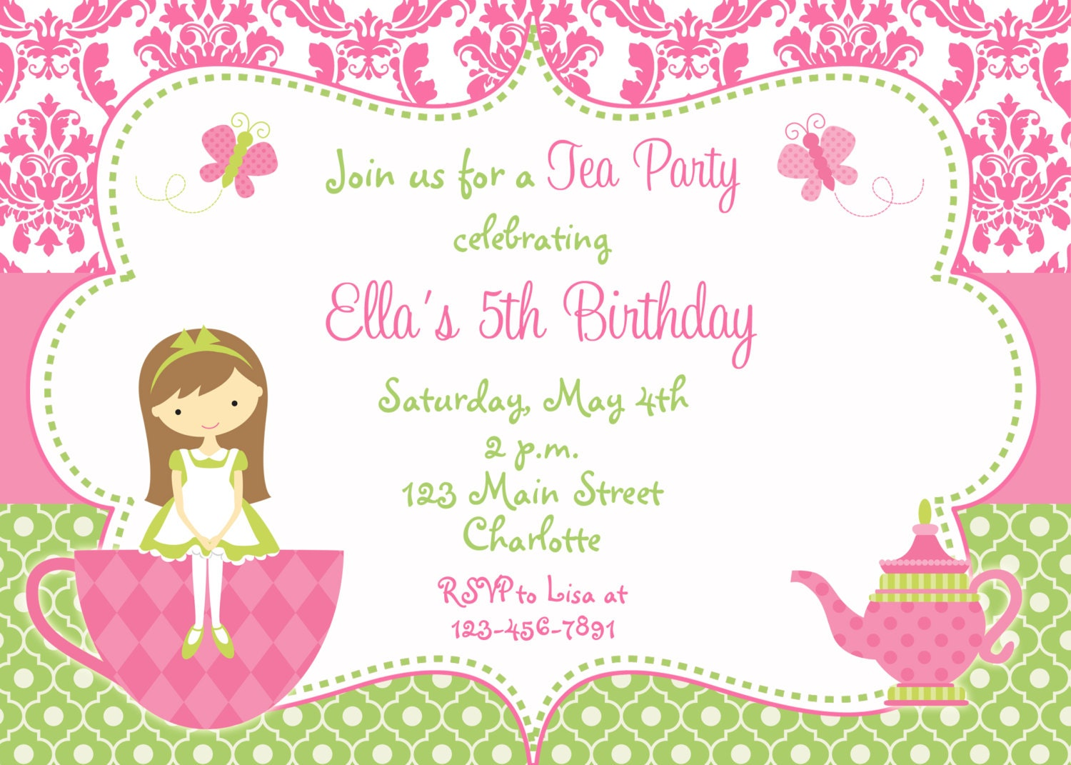 tea party birthday invitation princess tea dress up