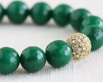 Green With Envy Bracelet - faceted green candy jade with Swarovski rhinestone pave focal bead