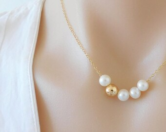 Pearl Necklace, Floating Pearl Necklace, Freshwater Pearl Necklace, Bridesmaids Gift, Gift for Her, Ivory Pearl, Modern Pearl Necklace