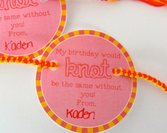 """INSTANT DOWNLOAD - Red and Yellow Birthday Friendship Bracelet Party Favor Card Printable - """"My birthday would KNOT be the same without you"""""""