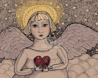 Ginny Pearl, first in a series of colorized pen & ink prints of angels