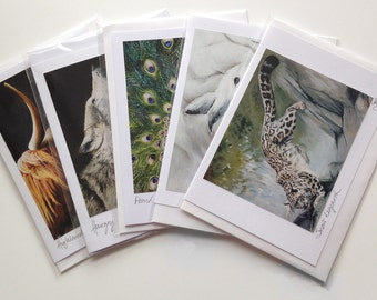5 wildlife greetings cards of original paintings by Tracy Butler
