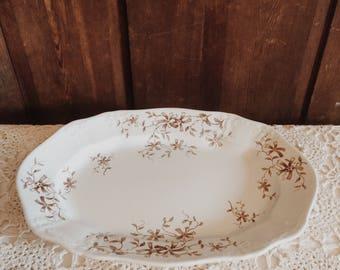 Antique Ironstone Brown Transferware Platter