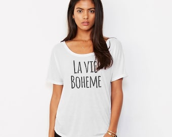 Rent The Musical, Womens Shirt, LA VIE BOHEME, Broadway Show Shirt, Broadway Gift, Rent Lyrics Tee, Off the Shoulder Tee, Gift for Her