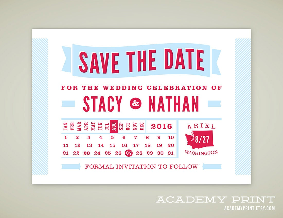 Calendar Save the Date Save-the-Date Calendar Wedding