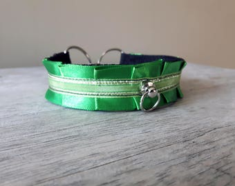 Emerald Green Kitten play collar / DDLG / 11 inches / Pet play necklace / bdsm choker / simple plated collar / gift for submissive