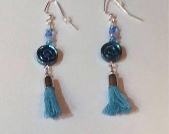 Blue rose mysterious mermaid tassle dangle earrings