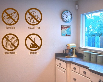 Wall Decal Room Sticker healthy organic healthy style food life diet stamp bo3059