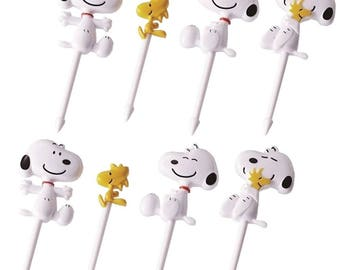 Snoopy and Woodstock Food Picks - Lunch Decorations Toppers Set of 8