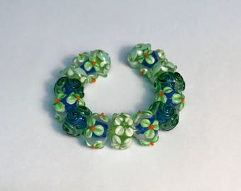 Gorgeous Handcrafted Lampwork Beads, Blue & Green Floral Beads, Lampwork Beads, Beading, Jewelry Making Supplies, 15PC