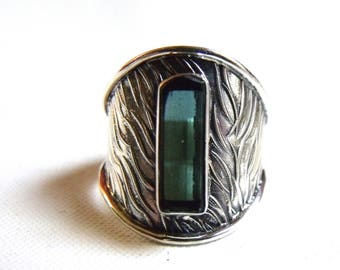 Pitchy Blue Tourmaline Specimen. Solid Silver Ring Cuff. Size 9. COANM©2016