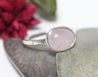 Rose Quartz Rustic Silver Ring, Statement Ring, Simple Ring, Pink Gemstone Ring, Stacking Ring, Hammered Ring