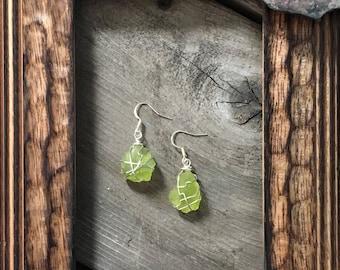green sea glass earrings/ handmade sea glass jewelry/ wire wrapped earrings/ silver wire/ genuine sea glass/ sterling silver/ dangle earring