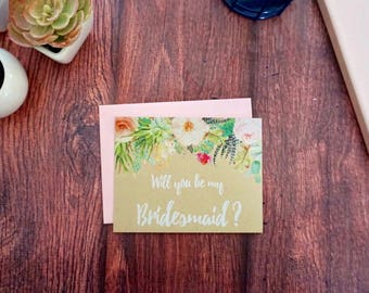 Kraft Paper Be My Bridesmaid - Bridal Party Invite - Succulent Wedding - Bridesmaid Proposal Card - Matron of Honor - Flower Girl Proposal