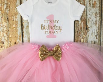 It's My Birthday Outfit, First Birthday Outfit, Birthday Tutu Outfit , Pink and Gold Birthday, One Outfit, Cake Smash Outfit, Birthday Girl