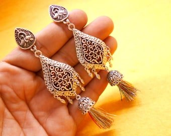 Nepali Traditional Tribal .925 Silver Plated Beautiful Antique Bohomeian Earring SER910