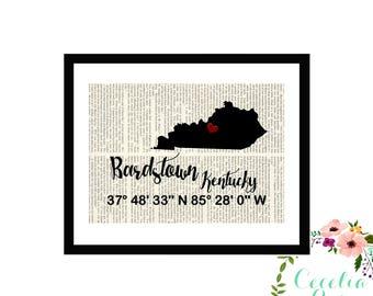 Bardstown Kentucky Custom Coordinates Latitude Longitude Book Page Art Box Framed or PrintFarmhouse Style Farmhouse Style