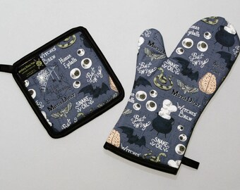 Witches Brew Oven Mitt and Pot Holder, Sets and Singles, Halloween Housewares, Bats, Black Cauldron, Eyeballs, Goth Kitchen, Spooky Decor