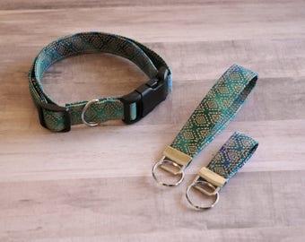 Moroccan Print Dog Collar and Key Fob Set