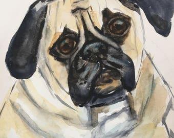 "Original Watercolor""Pug Love"" Painting.  9x12  *Free Shipping"