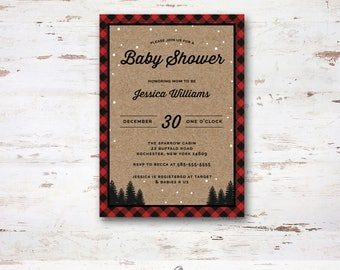 Winter Buffalo Plaid Baby Shower/ Bridal Shower Invite, Printable