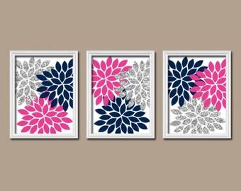 GLITTER Navy Hot Pink Gray Wall Art, Bedroom Canvas or Prints Bathroom Decor  Bedroom Pictures Flower Pictures Flower Burst Dahlia Set of 3