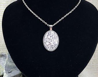 Silver Druzy Necklace - Drusy - Oval Necklace - Bridesmaid Gift - Jewelry - Druzy Pendant - Silver - Druzy Jewelry - Bridesmaid Necklace -