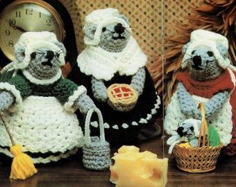 "Vintage Crochet Pattern Lady Housemaids Mousemaids Mice PDF Instant Digital Download Amigurumi Plush Mouse Designs 7"""